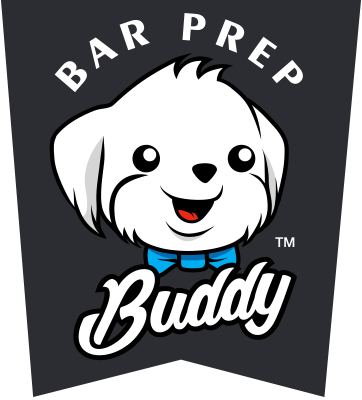 Logo in a tag form including the mascot and the words Bar Prep Buddy.