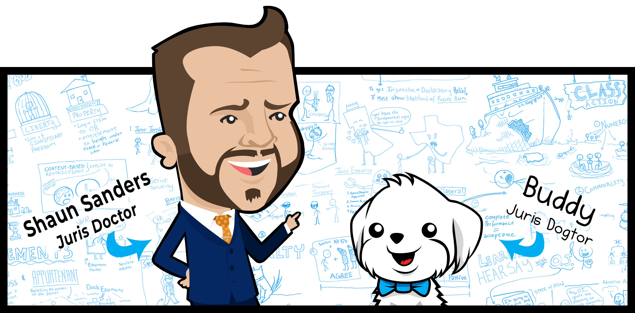 Illustration of Shaun Sanders, Juris Doctor, and Buddy, Juris Dogtor, in front of visualizations used in the app.