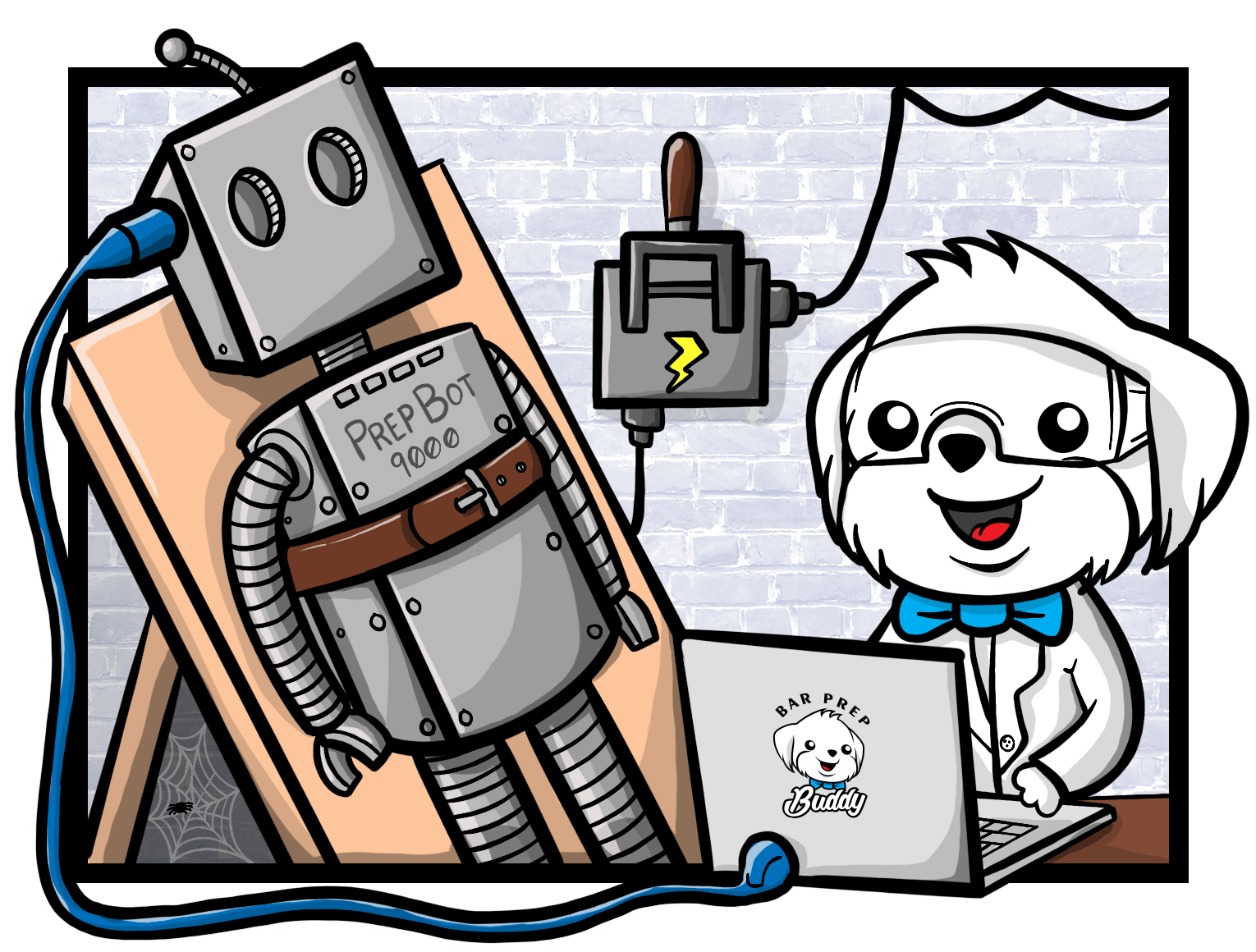 Illustration of the mascot loading up a robot with AI knowledge.