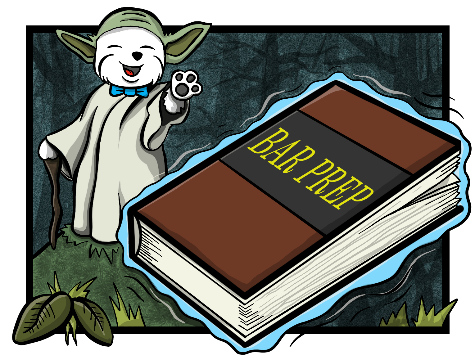 Illustration of mascot dressed as Yoda lifting the book using his Jedi powers.